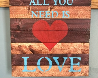 Reclaimed Wood Lath Sign/Love/Heart/Rugged