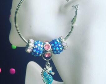 Seahorse Glitter Hoop Earrings