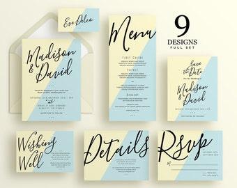 Wedding invitation set, modern wedding invitation, RSVP postcard, Wedding details card, Wedding set, Wedding suite, Madison Suite (WS004)