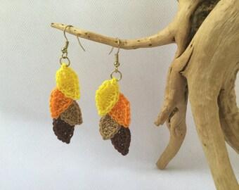 Crochet autumn leaf earrings, autumn jewelry