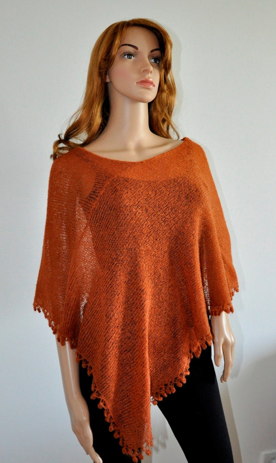 Rust mohair wrap Terracotta poncho cover up gift Copper wrap Hand knitted poncho, Women Poncho, Mohair yarn, Ready to Ship