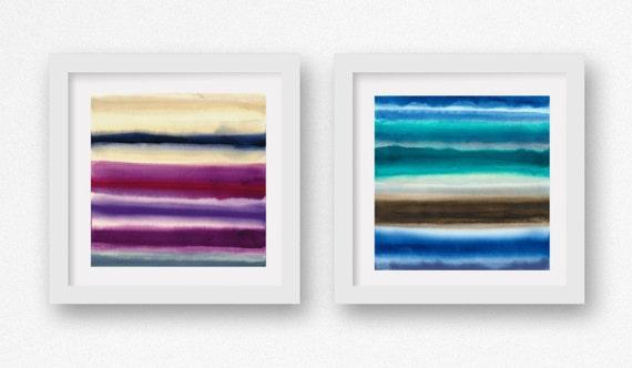 Sea Blues, SET of TWO Color + Rain art prints,  limited edtion giclees, abstract wall art, modern art print, coastal art