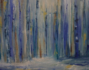 Abstract Winter Forest Painting
