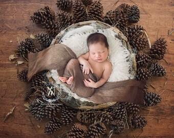 Newborn Digital Backdrop pine basket/ prop (Ben)