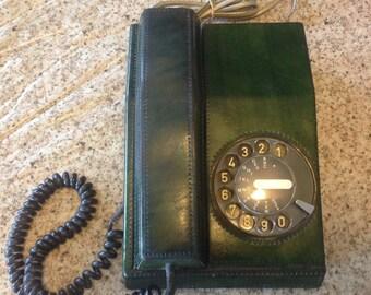Retro Green Leather ITT Rotary Phone/Telephone- Made in Belgium