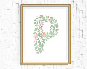 Instant Download Personalized Name Nursery Printable Monogram Art Print | Custom Nursery Printable Monogram Floral Letter P | FA-749 P-128P