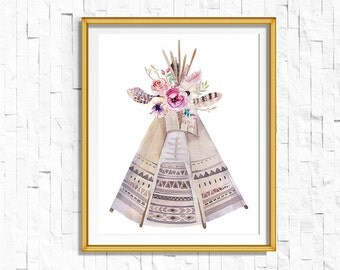 Instant Download Printable Bohemian Teepee Print   Boho Wall Art Feather Print   Tribal Woodland Watercolor Home Decor Boho Nursery Dorm