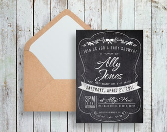 Printable Baby Shower Invitation, Rustic Baby Shower, DIY Printable Instant Download Invitation, Chalkboard, Its a Girl, It's A Boy