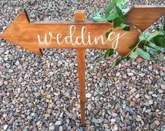 Directional Wooden Wedding Arrow| Rustic Wedding