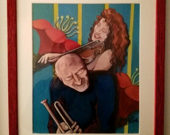 Acrylic painting, couple of musicians, jazz, ethnic design, Mexican art style, modern decoration.