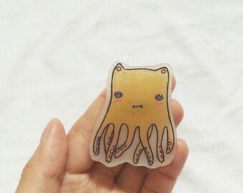 Octocat, Octopus Pin, Cat Pin, Shrinky Dinks Pin, Lapel Pin