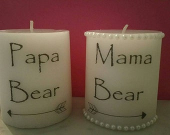 Mama and papa bear custom candles