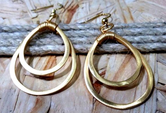 Gold look Hoop Earrings, Modern Hoop danglers, Boho Earrings, Gold Plated Hoop Earrings, Bohemian, Stylish Earrings, gifts