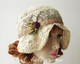 khaki 1920s Cloche Hat  flowers  cotton Lace fabric Vintage Style hat hatbellissima