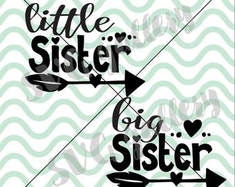 Little sister SVG & big sister SVG, siblings svg, sisters SVG, Digital cut file, commercial use