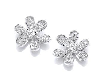 Sterling Silver and Cubic Zirconia Flower Stud Earrings