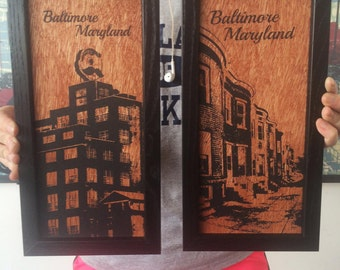 Natty Boh Tower Baltimore Rowhomes set sold framed