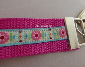 Schlüsselband, Schlüsselanhänger, Pink mit Blumen, türkis, Geschenk Tochter Freundin Mutter Frau
