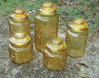 Amber Glass Canister set