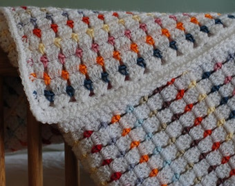 Crochet baby blanket made using a Little Doolally pattern.