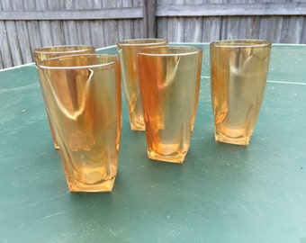Vintage Marigold Jeannette Carnival Glass tumblers (Qty: 5)