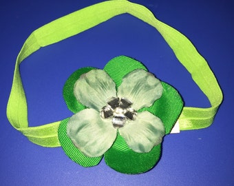 Green Flower Headband #015