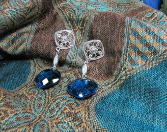 Fine 999 silver filigree crystal blue earrings
