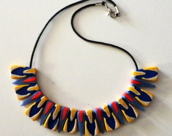 fimo Necklace blue-yellow-red