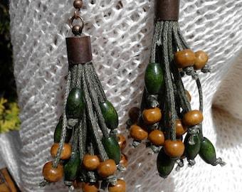 eaarings, ecofriendly, eco friendly, organic jewelry, wooden beads, Holzohrringe, Ohrringe aus Leinen, Bio-Schmuck