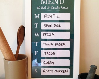 Dry Erase Weekly Meal planner Whiteboard