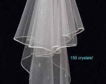 Wedding Veil - Waterfall Crystal drop  - Ivory sparkle tulle - Bohemian crystals and diamante - 150+ crystals!