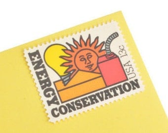 Pack of 25 Unused Energy Conservation Stamps - 13c - 1977 - Unused Postage - Quantity of 25