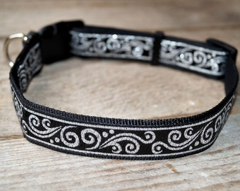 Collar M Black/Silver for dog