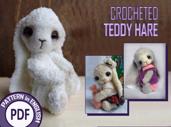 Crocheted Teddy HARE. PDF Pattern. Instand Download!
