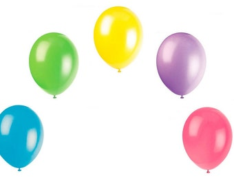 15 x Summer Colours Latex Balloons - 3 each of Turquoise, Yellow, Lime Green, Hot Pink, & Lavender - Birthday, Party, Barbeque