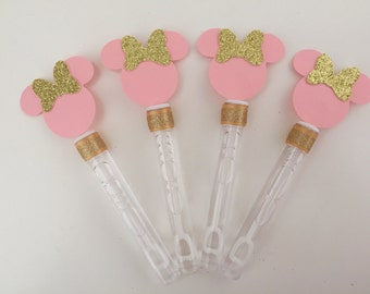 Minnie Mouse Pink and Gold Bubbles Birthday Class Party Loot Bag Favors