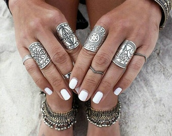 Antique silver plated Bohemian knuckle rings