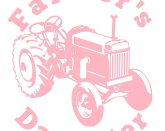 Farmer's Daughter and tractor vinyl decal 6inx5in