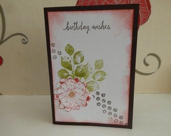 Hanfmade Pink Flower Birthday Card