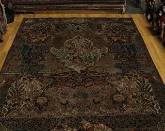 Unique Hunting Scene Kashmar Persian Area Rug Carpet 10X13