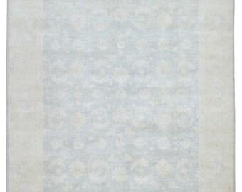 Beige and Light Blue-Gray Large Pakistan Peshawar Oriental Rug 8X9'7