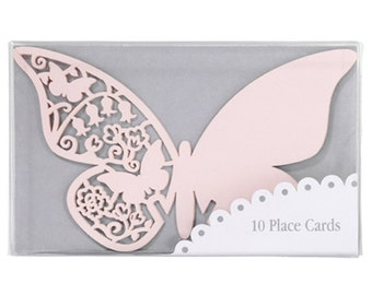 10 Pink Butterfly Place cards, for weddings , for glasses, place cards.