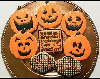 Halloween Jack-O-Lantern Sugar Cookies