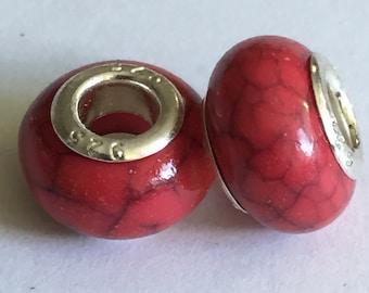 4 Pandora Style Red Beads
