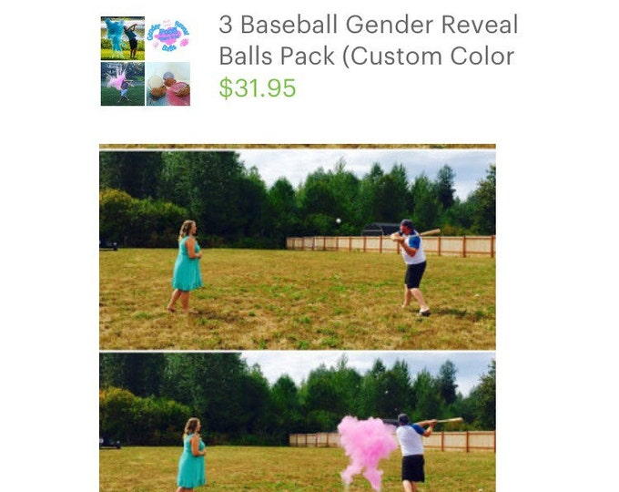 3 Baseball Gender Reveal Balls Pack (Custom Color Combinations and Styles)