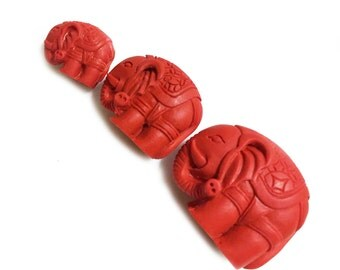 10pcs Red Cinnabar Carved Elephant Beads, Red Animal Bead, Asian Inspired, Semi Precious Carved Gemstone Bead, Gemstone Wholesale .SKU#25