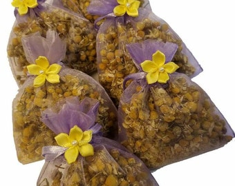 6 count Organic chamomile sachet set with flower embellishment
