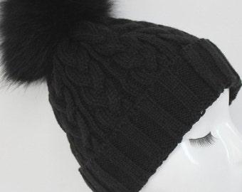 Black Cable Knit Fur Pom Pom Hat with matching Pom Pom