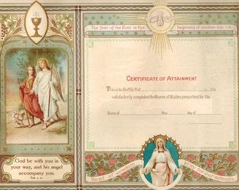 Vintage edited Catholic Graduation Diploma without grade level