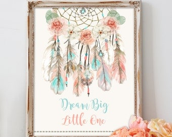 Boho Dream Catcher Sign | Welcome Gift Table Sign Nursery Wall Art| Tribal Feathers Crystals Arrows Peach Aqua | Digital Instant Download